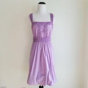 BCBGMaxAzria Purple Ruffled Bubble Hem Dress